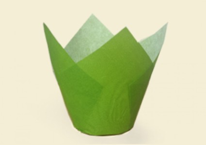 "ХАРТИЕНИ ЧАШКИ ЗА ПЕЧЕНЕ TULIP CUPS - ""ЛАЛЕ"" 150/50 - зелени"